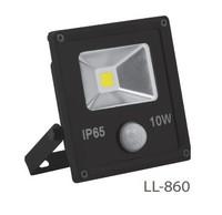 FERON прожектор светодиодный с встроенным датчиком,квадратный 1СОВ*10W IP65 черный LL-860