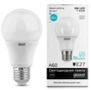 Gauss Elementary лампа светодиодная ЛОН А60 Е-27 6W холодная 4100K 23226