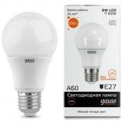 Gauss Elementary лампа светодиодная ЛОН А60 Е-27 6W теплая 2700K 23216