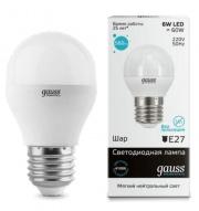 Gauss Elementary лампа светодиодная шар Е-27 6W холодная 4100K 53226