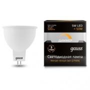 Gauss лампа светодиодная MR16 GU5.3 5W теплая 2700К диммируемая 101505105-D