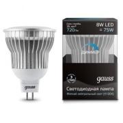 Gauss лампа светодиодная MR16 GU5.3 8W холодная 4100К диммируемая 101105208-D