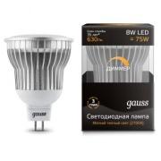Gauss лампа светодиодная MR16 GU5.3 8W теплая 2700К диммируемая 101105108-D