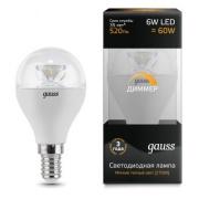Gauss лампа светодиодная шар E14 6W 2700K диммируемая 105201106-D