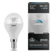 Gauss лампа светодиодная шар E14 6W 4100K диммируемая 105201206-D