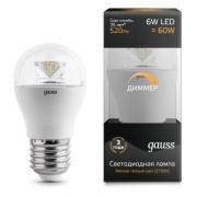 Gauss лампа светодиодная шар E27 6W 2700K диммируемая 105202106-D