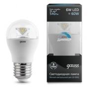 Gauss лампа светодиодная шар E27 6W 4100K диммируемая 105202206-D
