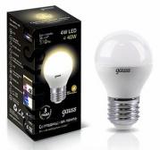 Gauss лампа светодиодная шар матовый Е-27 4W теплая 2700K 105102104