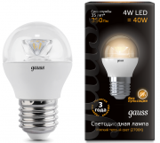 Gauss лампа светодиодная шар прозрачный E27 4W 2700K с линзой 105202104