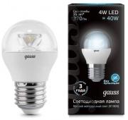 Gauss лампа светодиодная шар прозрачный E27 4W 4100K с линзой 105202204