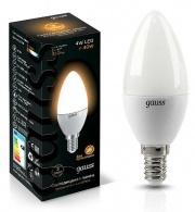 Gauss лампа светодиодная свеча матовая Е-14 4W теплая 2700K 103101104