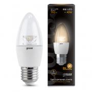 Gauss лампа светодиодная свеча прозрачная E27 4W 2700К с линзой 103202104
