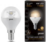 Gauss шарик светодиодный прозрачный E14 4W 2700K с линзой 105201104