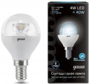 Gauss шарик светодиодный прозрачный E14 4W 4100K с линзой 105201204