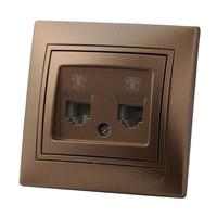 Lezard MIRA розетка КОМПЬЮТЕР 2-й Светло-коричневый металлик 701-3131-141
