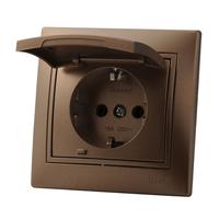 Lezard MIRA розетка с крышкой Светло-коричневый металлик 701-3131-123