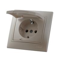 Lezard MIRA розетка с крышкой Жемчужно-белый металлик 701-3030-123