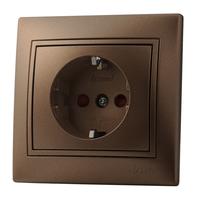 Lezard MIRA розетка с/з cо шторкой Светло-коричневый металлик 701-3131-124