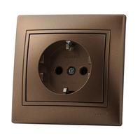 Lezard MIRA розетка с/з Светло-коричневый металлик 701-3131-122