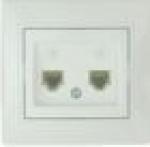 Lezard MIRA розетка ТF двойная белая 701-0202-138