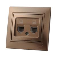 Lezard MIRA розетка ТF двойная Светло-коричневый металлик 701-3131-138