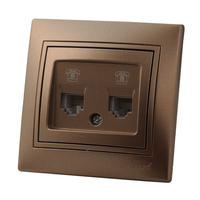 Lezard MIRA розетка ТF+КОМПЬЮТЕР Светло-коричневый металлик 701-3131-143