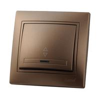 Lezard MIRA выключатель 1 кл. проходной с подс. Светло-коричневый металлик 701-3131-114