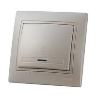 Lezard MIRA выключатель 1 кл. проходной с подс. Жемчужно-белый металлик 701-3030-114