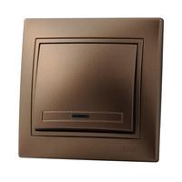Lezard MIRA выключатель 1 кл. с подс. Светло-коричневый металлик 701-3131-111