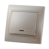 Lezard MIRA выключатель 1 кл. с подс. Жемчужно-белый металлик 701-3030-111