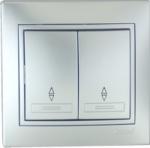 Lezard MIRA выключатель 2 кл. проходной Серебро 701-1010-106