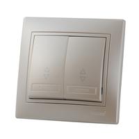 Lezard MIRA выключатель 2 кл. проходной Жемчужно-белый металлик 701-3030-106