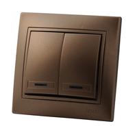 Lezard MIRA выключатель 2 кл. с подс. Светло-коричневый металлик 701-3131-112