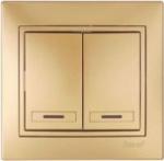 Lezard MIRA выключатель 2 кл. с подс. Золото 701-1313-112