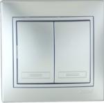 Lezard MIRA выключатель 2 кл. Серебро 701-1010-101