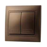 Lezard MIRA выключатель 2 кл. Светло-коричневый металлик 701-3131-101