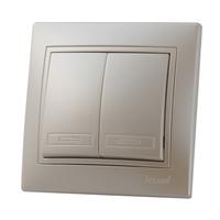 Lezard MIRA выключатель 2 кл. Жемчужно-белый металлик 701-3030-101