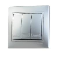 Lezard MIRA выключатель 3 кл. Серебро 701-1010-109