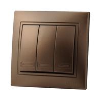 Lezard MIRA выключатель 3 кл. Светло-коричневый металлик 701-3131-109