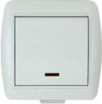 Lezard NATA выключатель 1 кл. с подс. белый 710-0200-111
