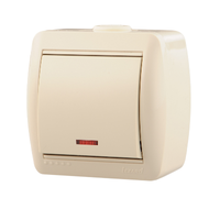 Lezard NATA выключатель 1 кл. с подс. крем 710-0300-111