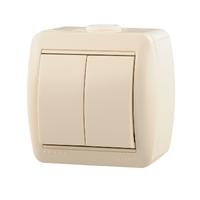 Lezard NATA выключатель 2 кл. крем 710-0300-101