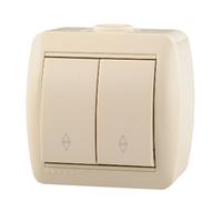 Lezard NATA выключатель 2 кл. проходной крем 710-0300-106