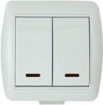 Lezard NATA выключатель 2 кл. с подс. белый 710-0200-112