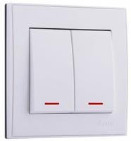 Lezard RAIN Выключатель 2-ой с подсветкой белый 703-0288-112