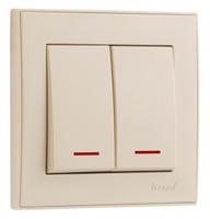 Lezard RAIN Выключатель 2-ой с подсветкой крем 703-0388-112
