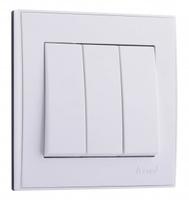Lezard RAIN Выключатель тройной белый 703-0288-109