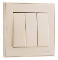 Lezard RAIN Выключатель тройной крем 703-0388-109