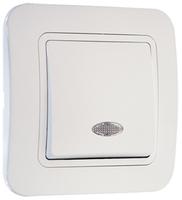 Makel Lillium выключатель 1 кл. с подсв. белый 71021