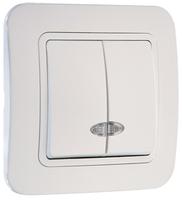 Makel Lillium выключатель 2 кл. с подсв. белый 71023